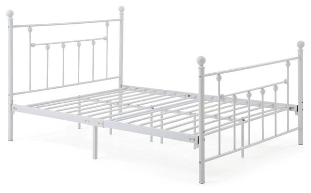 Metal Bed Frame, White, Full.