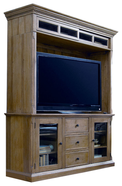 Paula Deen Down Home Entertainment Console With Hutch, Oatmeal traditional- entertainment-centers- - Paula Deen Down Home Entertainment Console With Hutch, Molasses