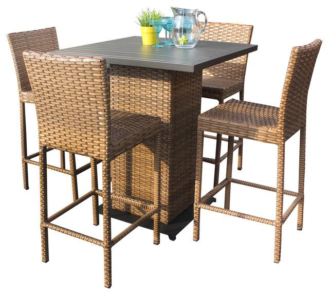 Tuscan Outdoor Wicker Pub Table With Bar Stools, 5 Piece Set  Tropical Outdoor