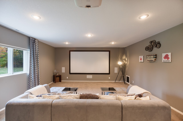 Modern basement in north mankato mn transitional for Floor to ceiling mankato