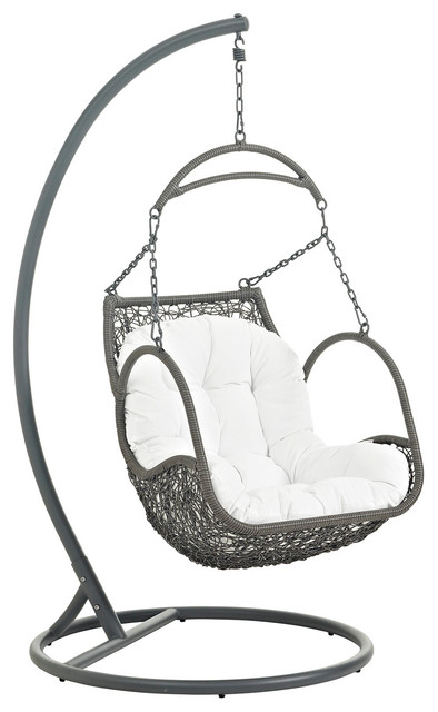 Arbor Outdoor Patio Wood Swing Chair, White.