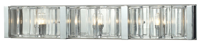 Corrugated Glass 3-Light Vanity, Polished Chrome