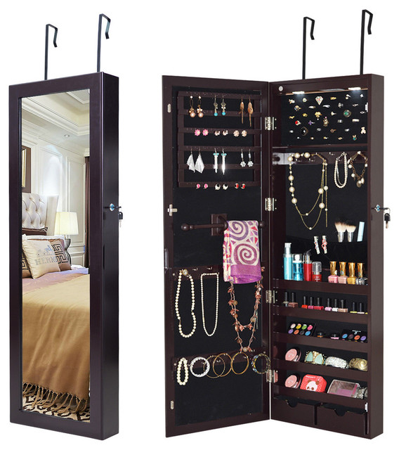 Costway Lockable Wall Mount Mirrored, Mirrored Jewellery Cabinet Wall Mounted