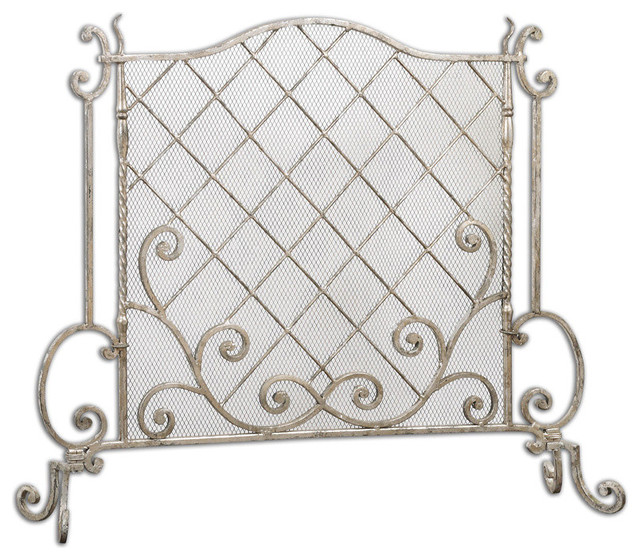 Uttermost 19914 acasia leaf fireplace screen silver for Silver fireplace doors