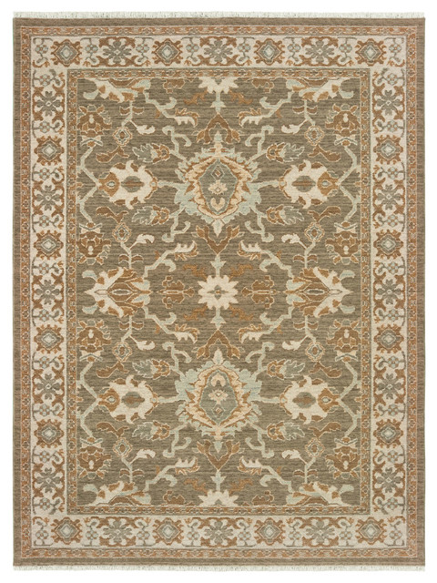 Adeline Distressed Traditional Brown Ivory Fringe Wool Area Rug 7 10 X10