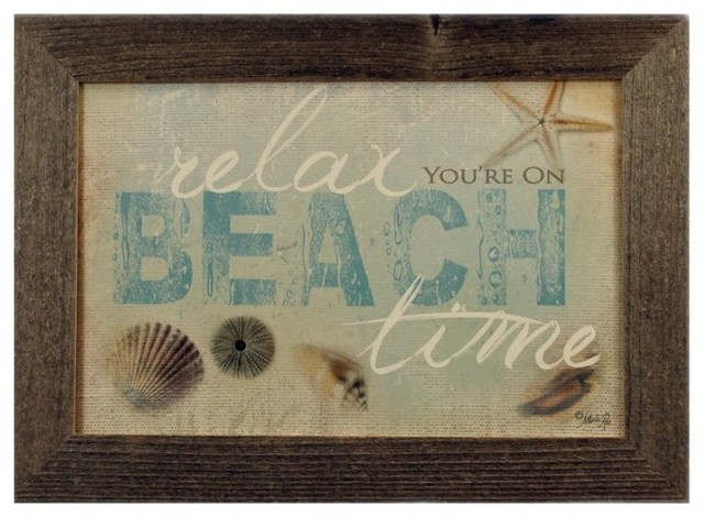 on beach time reclaimed wood framed coastal wall art print marla rae rustic prints