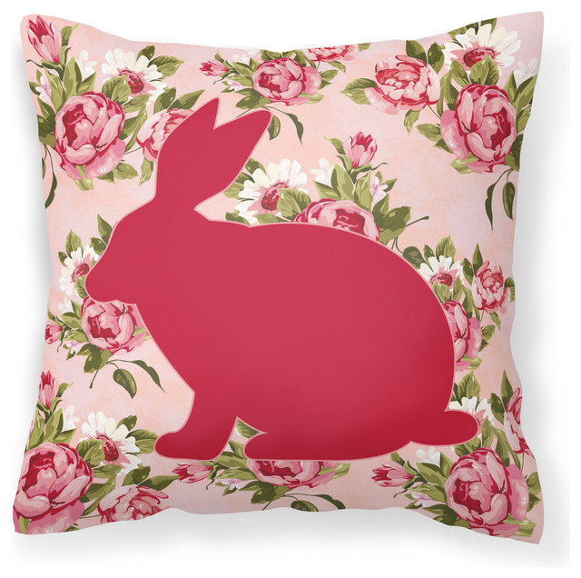 Caroline s Treasures - Rabbit Shabby Chic Pink Roses Fabric Decorative Pillow & Reviews Houzz