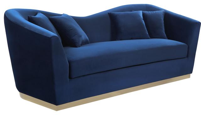 Arabella Velvet Sofa, Navy