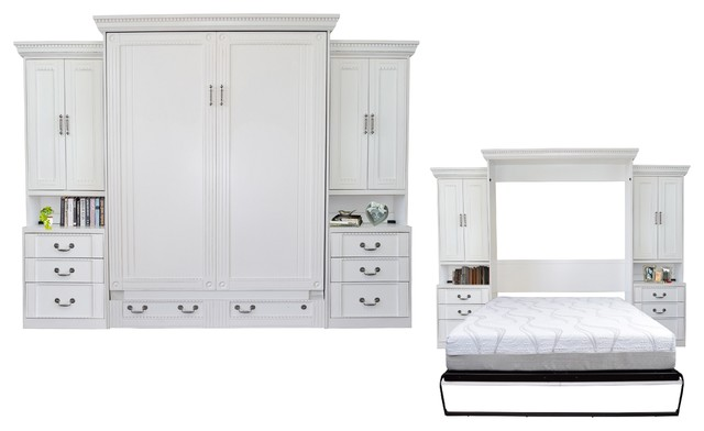 Empire Queen Size Murphy Bed With Two Pier Cabinets, Antique White.