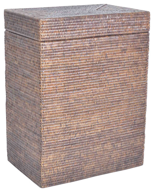 Artifacts Rattan Rectangle Hamper With Hinged Lid, Espresso.