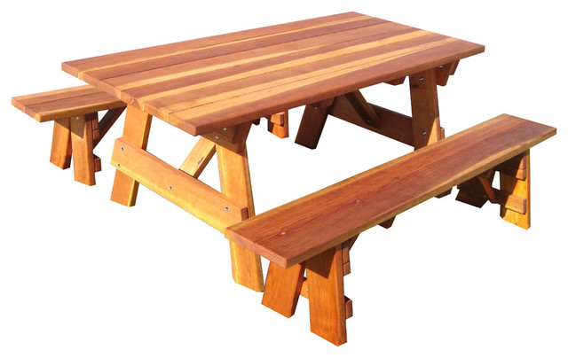 6&x27; Picnic Table With Detached Bench And Umbrella Hole, Mahogany, 30.5x54x72.
