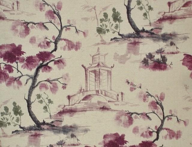 oriental toile fabric purple ink wash painting literati pagoda sample cut