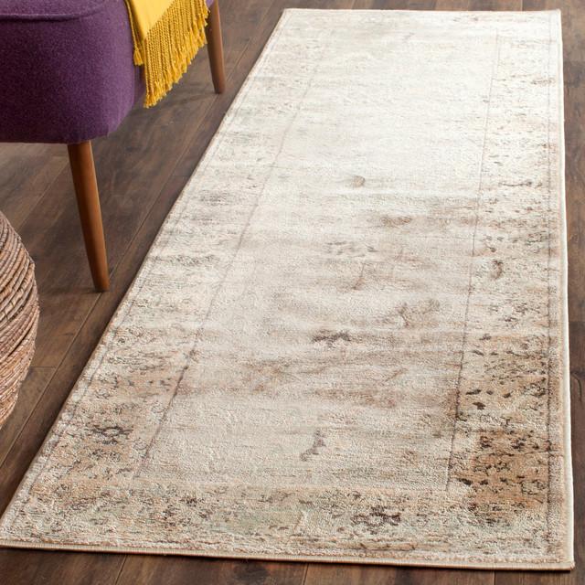 Safavieh Denton Vintage-Style Rug, Light Gray And Ivory, 2&x27;2x10&x27;.