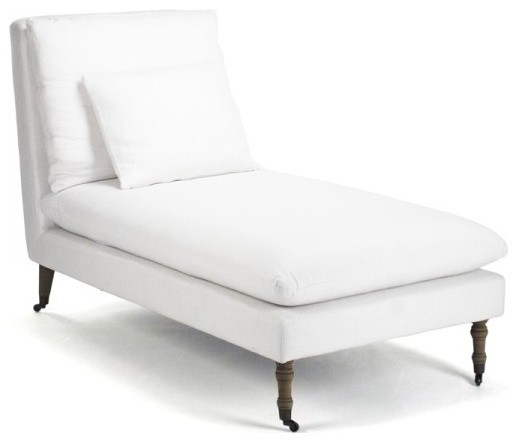 Off White Chaise Lounge Corey Casters