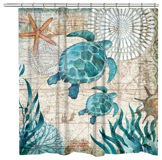 Bay Turtles Shower Curtain 71x72 Beach Style Shower
