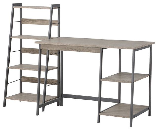 Homestar Gemelli Writing Desk And 4 Shelves Bookcase Duo, Reclaimed Wood  Finish   Industrial   Desks And Hutches   By HOMESTAR NORTH AMERICA LLC
