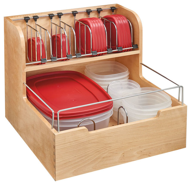 "Wood Food Storage Container Organizer For Base Cabinets, 21"" - Food Storage Containers - by Rev ..."