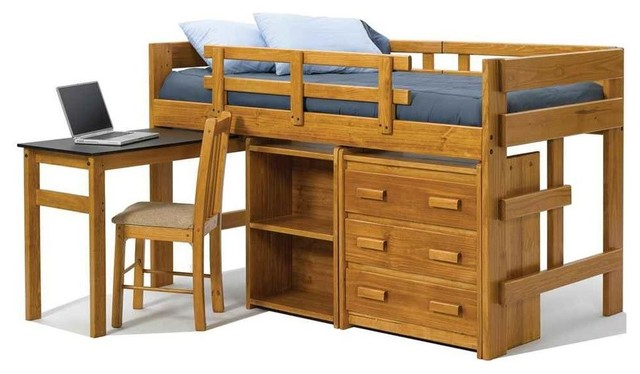 Twin Mini Loft Bed With Pull Out Desk Bunk Beds By