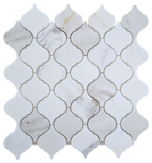 White Marble Arabesque Side Table: Tiles R Us Italian Calacatta Gold Marble Honed Arabesque