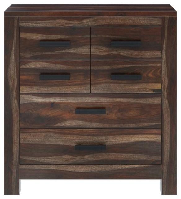 . Roanoke Rustic Solid Wood 6 Drawer Modern Bedroom Dresser