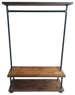 Bon Industrial Pipe Clothing Rack With Cedar Wood Shelving   Industrial   Clothes  Racks   By William Roberts Vintage LLC