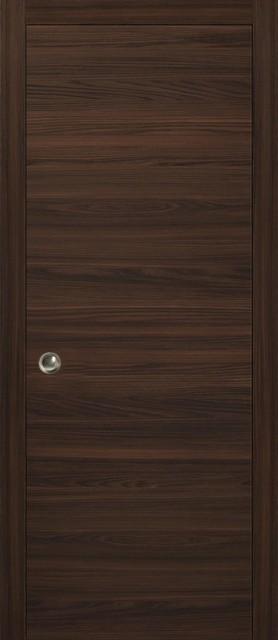 "Interior Sliding Closet Wood Pocket Door Chocolate Ash Brown, 36""x80""."