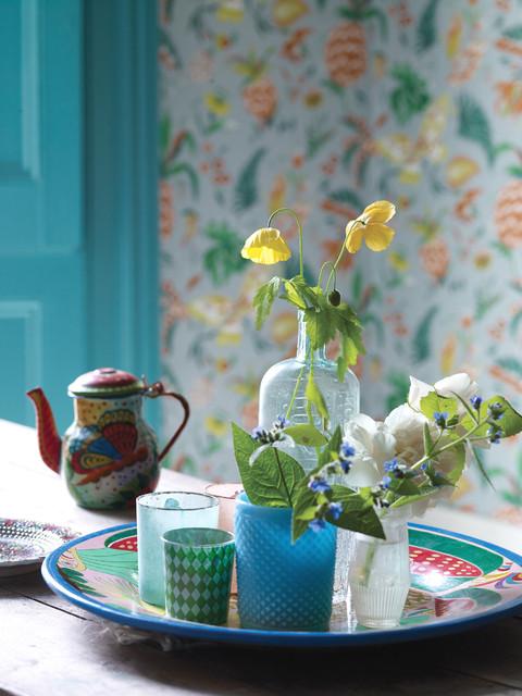 englische wohnzimmer tapete wohnaccessoires und deko