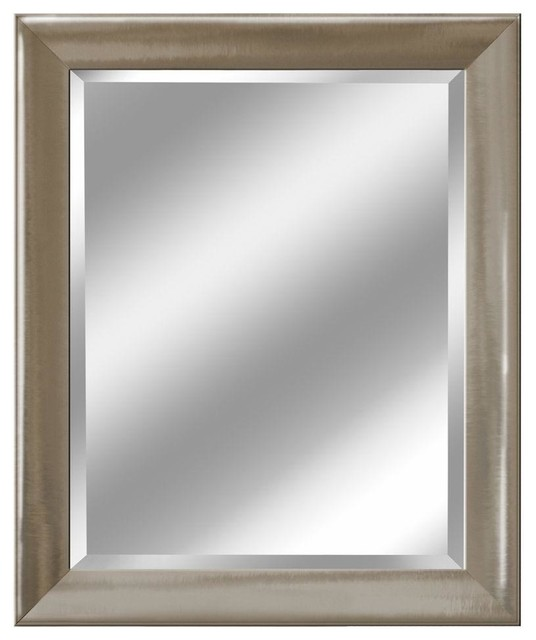 """Brushed Nickel Wall Mirror transitional brushed nickel mirror, 27.5""""x33.5"""" - transitional"""