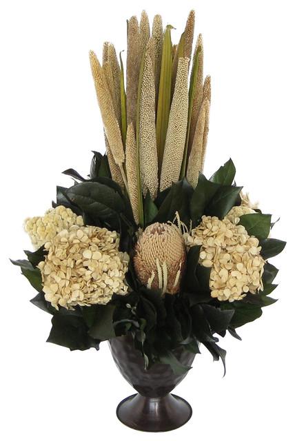 Small Metal Trophy Vase Brown Pensularia Banksia Ivory