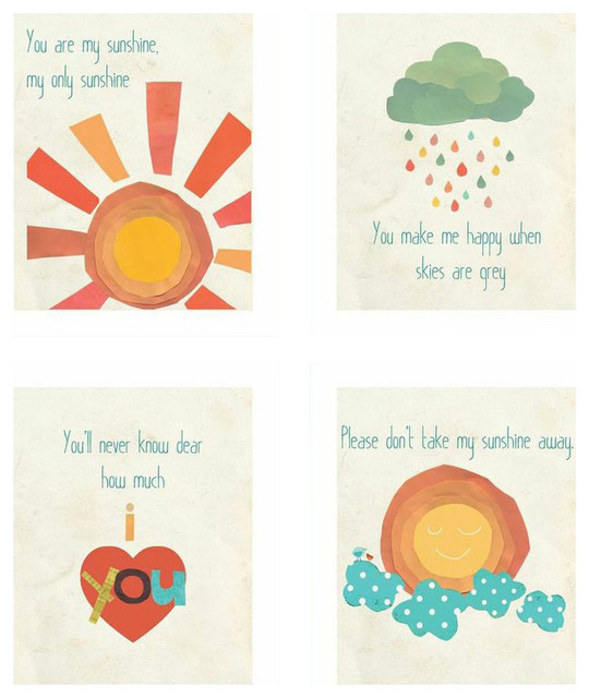 "You Are My Sunshine Wall Decor you are my sunshine"" wall prints, set of 4 - contemporary - kids"