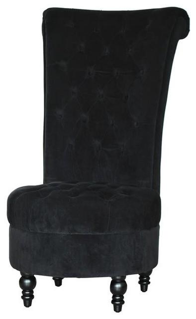 """45"""" Tufted High Back Velvet Accent Chair, Black."""