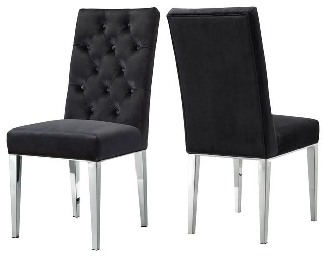 Silvia Velvet Dining Chair, Set Of 2, Black.