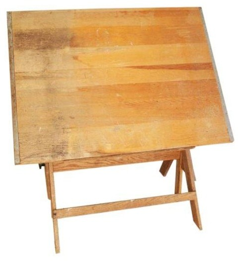 Superb Vintage Wood Drafting Table Industrial Desks And Hutches