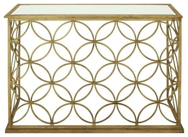 """Metal Glass Gold Console Table 47""""x32""""."""