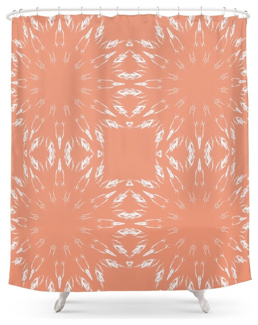 Society6 Peach Color Burst Shower Curtain Contemporary