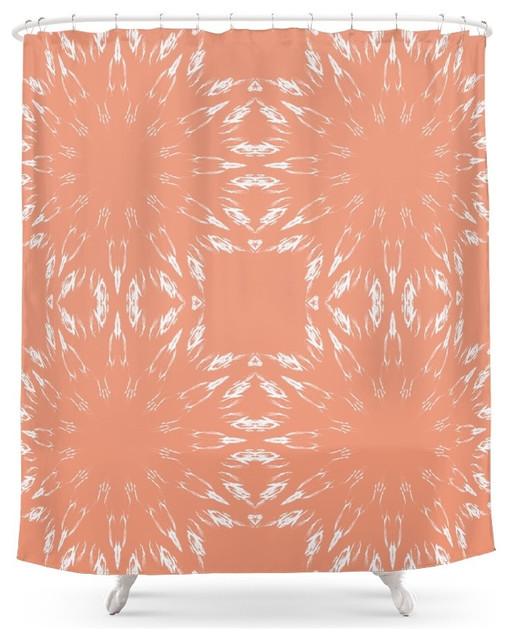 Society6 Peach Color Burst Shower Curtain Contemporary Shower Curtains