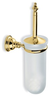 Classic Style Wall Mounted Glass Toilet Brush Holder, Gold