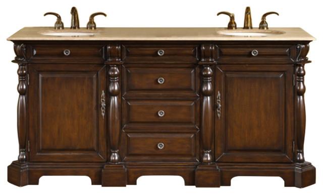 "72"" Double Sink Bathroom Vanity With Travertine Countertop."
