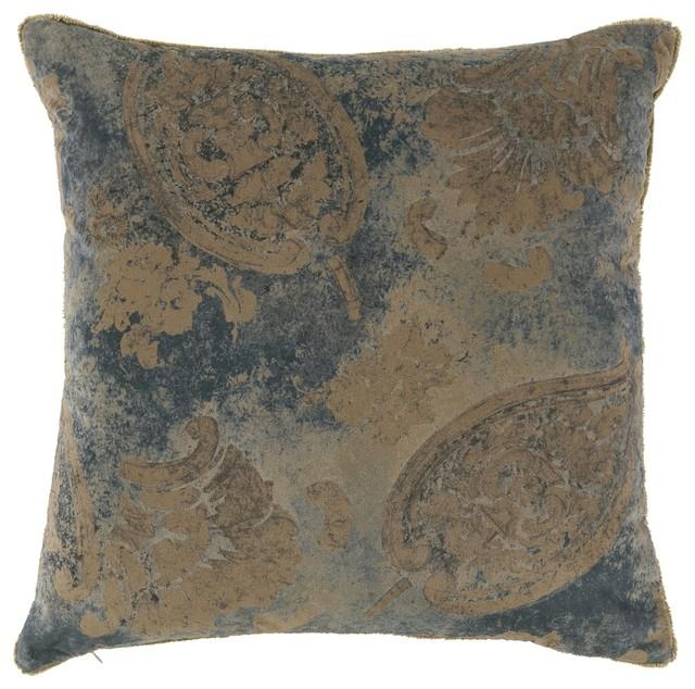 Traditional Decorative Pillows : Lacefield Designs - Vintage Velvet Indian Blue Pillow & Reviews Houzz