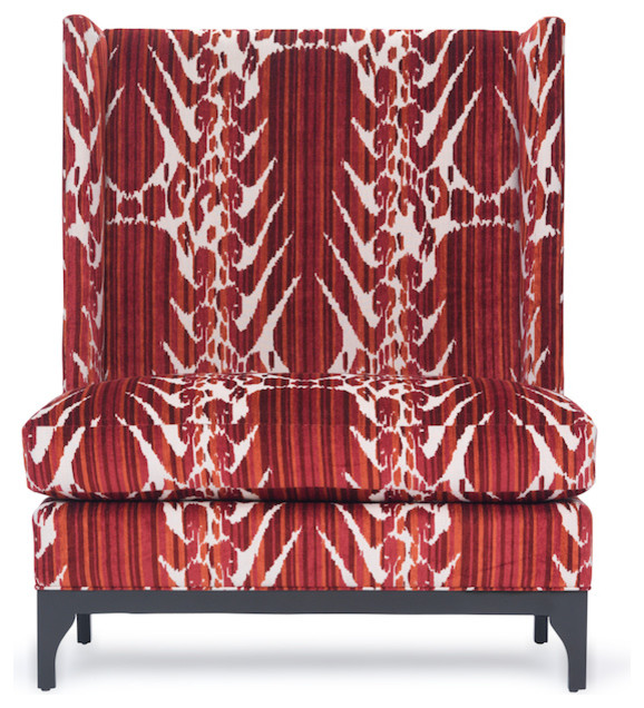 Giguere Red Ikat Contemporary Dining Benches By Kristin Drohan Collecti
