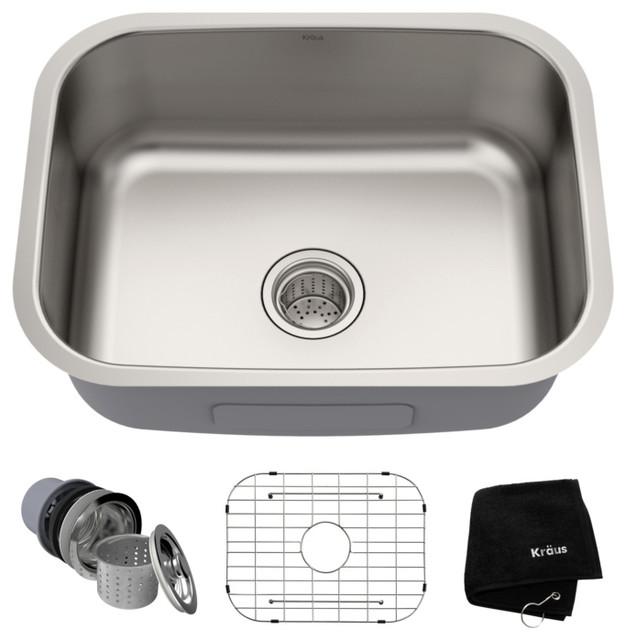 """Kraus 23"""" Undermount Single Bowl 16 Gauge Stainless Steel Kitchen Sink"""