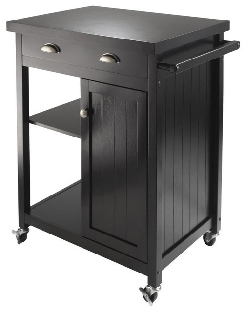 Winsome Wood 20727 Timber Kitchen Cart With Wainscot Panel In Black.