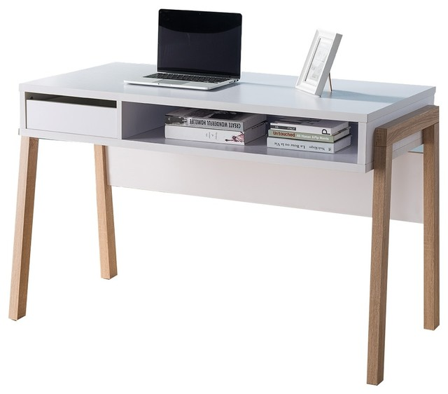 Computer Desk Contemporary 151400 smart home white and weathered white writing computer desk