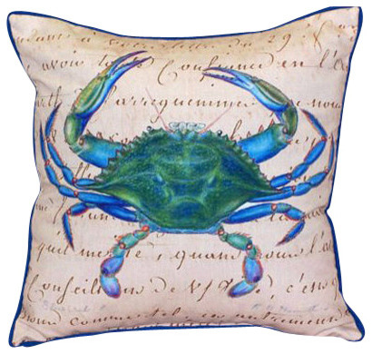 Betsy Drake Blue Crab Indoor/Outdoor Pillow, Beige - Beach Style ...