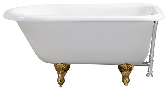 "66"" Cast Iron R5100gld-Ch Soaking Clawfoot Tub With External Drain."