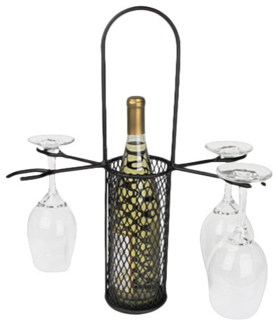 Metrotex Designs - Mesh Bottle Carrier With 4-Stem Holder, Textured Bronze - View in Your Room ...