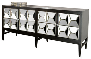 mirrored buffet sideboard statements by j spike mirrored sideboard black 4157