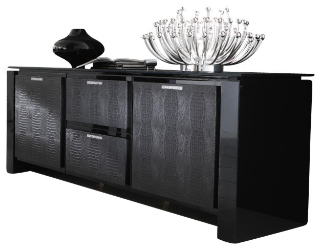 Rossetto Diamond Buffet Black Lacquer Contemporary Buffets And Sideboards