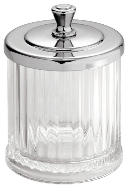 Idesign Alston Small Bathroom Canister Clear And Chrome Contemporary Bathroom Canisters By Idesign Houzz