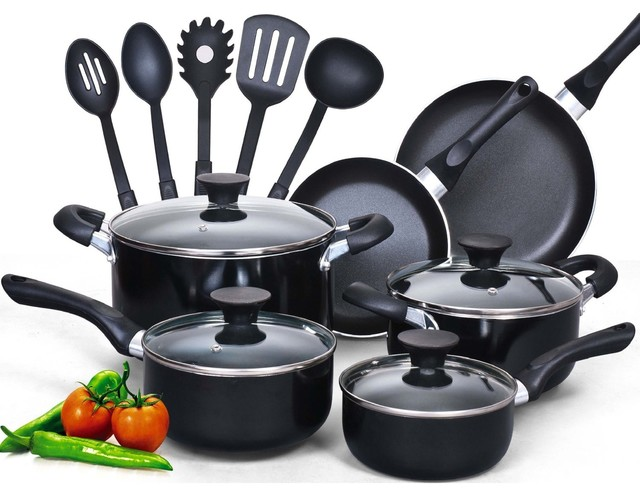 Cook N Home 15 Piece Non Stick Black Soft Handle Cookware Set.